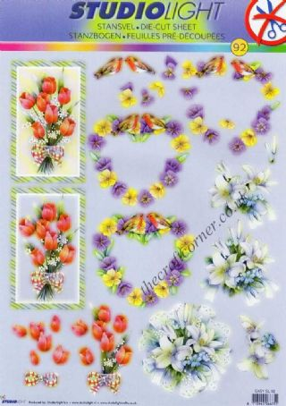 Pansy, Tulip & Lilly Posies 3D Decoupage Die Cut Sheet